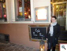 Jill outside of Cafe Rose Red in Brugge