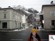 Jill in front of Hohensalzburg Castle/Nonnberg Abbey
