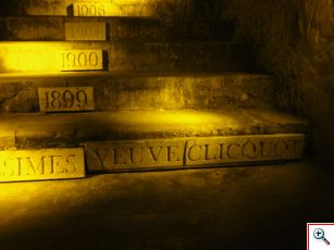 Steps of vintage years in chalk caves of Veuve Clicquot