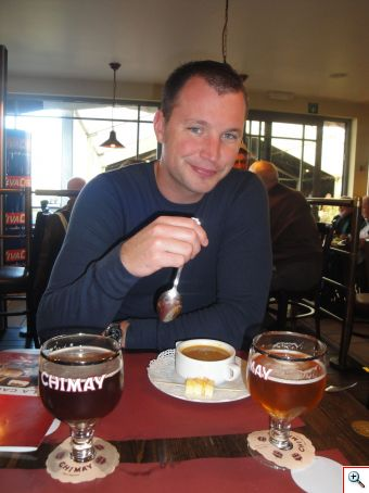 Nick with his soup and Chimay