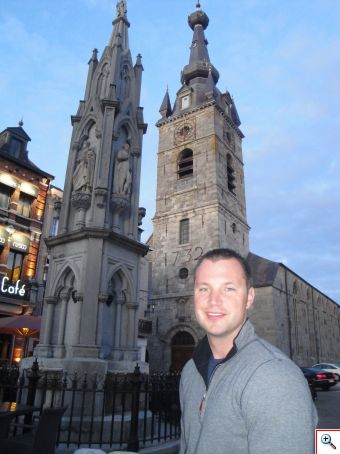 Nick in the town square of Chimay