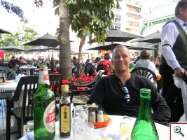 Jeff enjoying Stella Artois at La Biela
