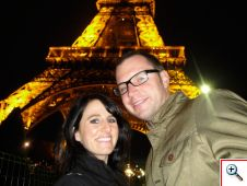 Jill & Nick dwarfed by the tower