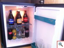 Mini fridge stocked with Chimay