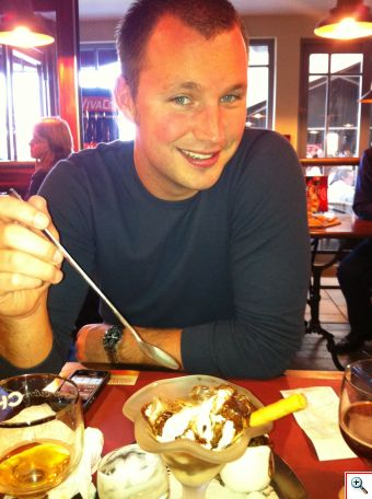 Nick enjoying our ice cream at the auberge