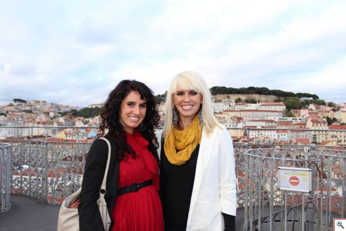 Jenny and Jill at the Santa Justa Elevator in Lisbon, Portugal
