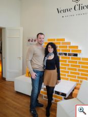 Nick and Jill at Veuve Clicquot Ponsardin Champagne House