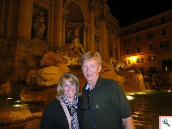 Patti and Jim at the Trevi Fountain