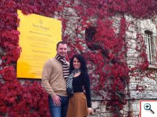 Nick and Jill outside Veuve Clicquot Ponsardin Champagne House