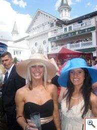 Jill and Jenny with Churchill Downs' Twin Spires
